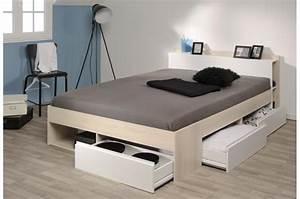 Lit 140 Avec Rangement : lit avec rangement 140 x 200 cm acacia clair lit design pas cher ~ Teatrodelosmanantiales.com Idées de Décoration