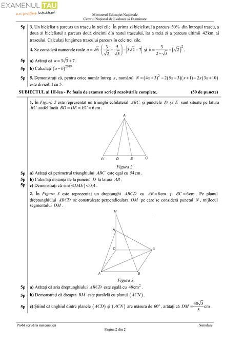 subiecte simulare evaluare nationala matematica