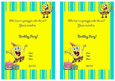 spongebob birthday card template spongebob birthday invitation