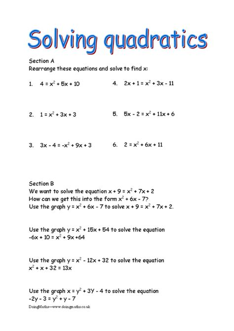 Quadratic Equations  Free Worksheets, Powerpoints And Other Resources For Gcse Doingmaths