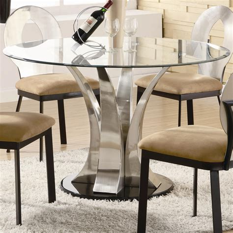 Round Glass Dining Table Top With Curvy Silver Chrome Base