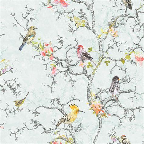 shabby chic wallpaper b q statement ornithology blue birds wallpaper departments diy at b q