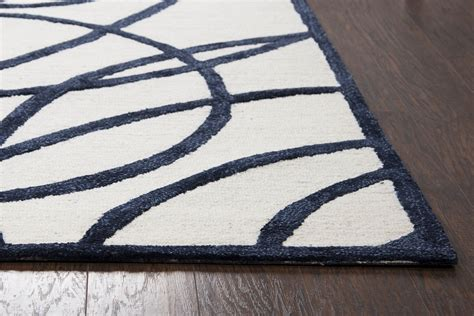 abstract circles lines wool area rug in white