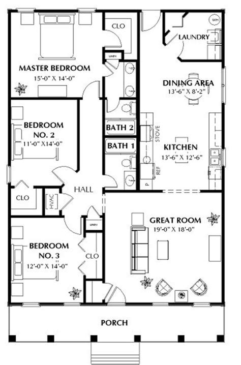 Southern Style House Plan 3 Beds 2 Baths 1587 Sq/Ft Plan