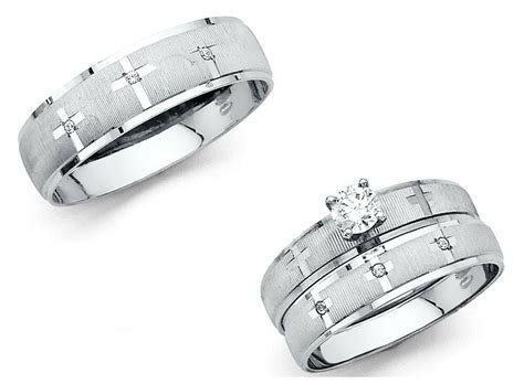 14k solid white gold cross wedding band bridal solitaire engagement ring ebay