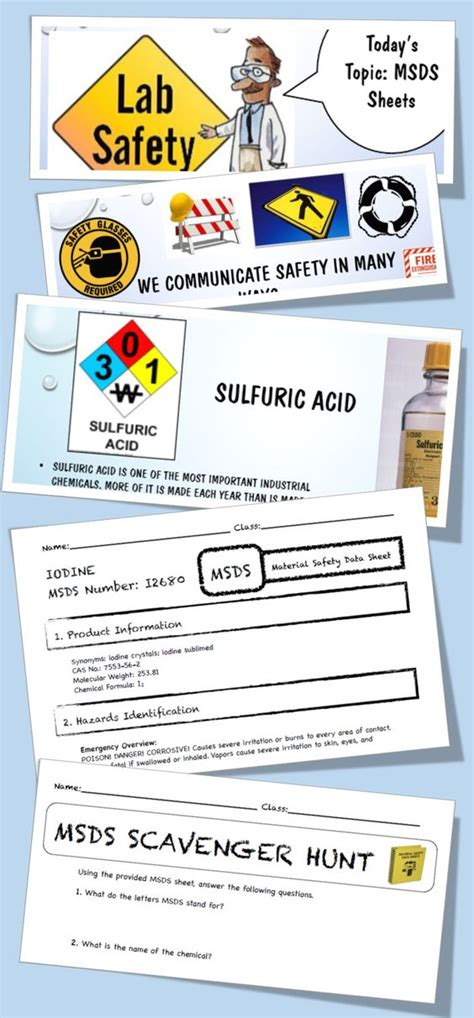 Msds Lab Safety Activity, Powerpoint, Worksheet, Junior High 5th 6th 7th 8th Activities