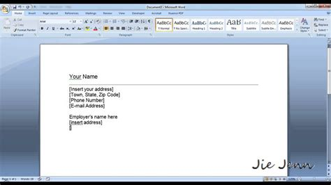 create  cover letter template  word youtube