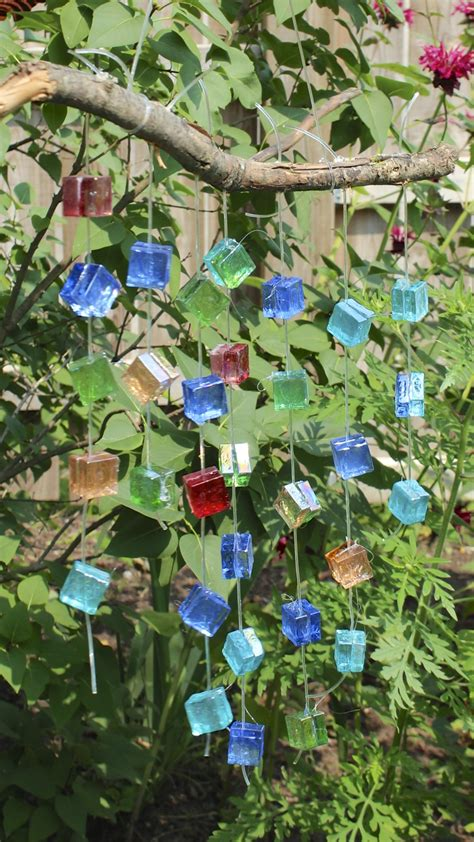 glass mosaic wind chime garden decor with the yard
