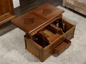 Table Bar Bois : table basse bar paul en merisier de style louis philippe meuble en merisier massif ~ Teatrodelosmanantiales.com Idées de Décoration