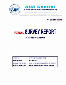 loading inspection report With marine survey template