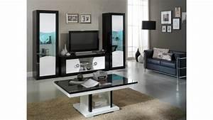 Meuble TV Moderne 2 Portes Noir Et Blanc Nevis GdeGdesign