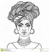 Vector African Pretty Illustration Lips Turban sketch template