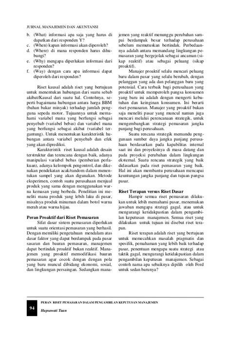 peran riset pemasaran dalam pengambilan