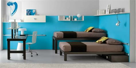 Shared Kids Room In Brown And Blue
