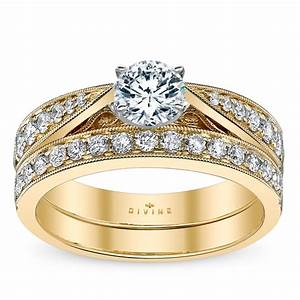 divine 14k yellow gold diamond wedding set setting With robbins brothers wedding ring sets