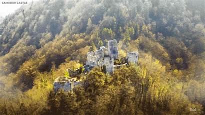 Castelli Medievali Europei Digitalmente Riportate Rovine Animate