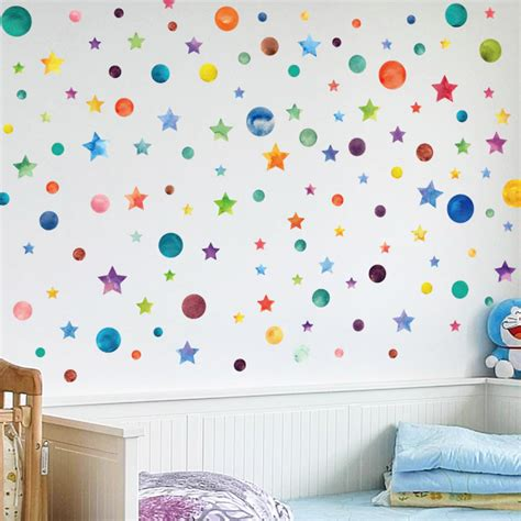 Sears has the best selection of nursery wall decor in stock. Rainbow Star Wall Colorful Stars & Dots Wall Art Stickers Nursery Wall Decal Stickers ...