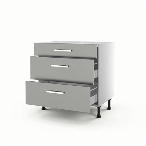meuble cuisine avec tiroir meuble de cuisine bas gris 3 tiroirs délice h 70 x l 80 x