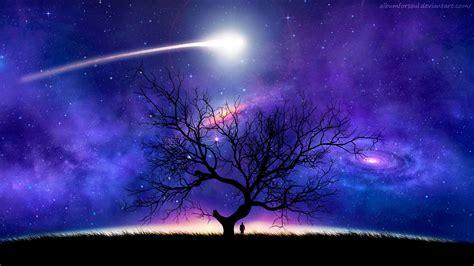 wallpaper tree siluet luar angkasa malam langit