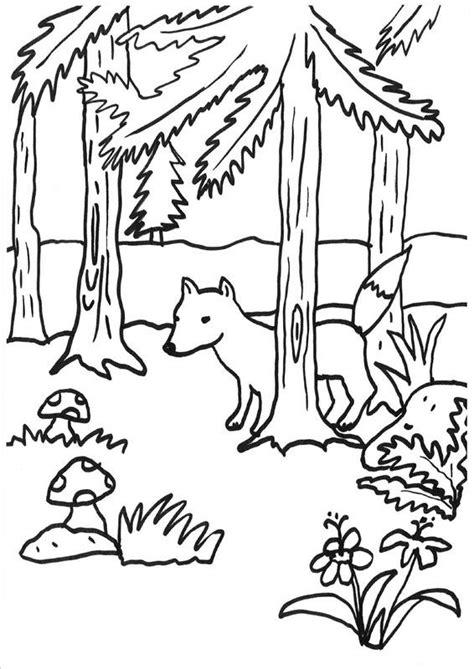 coloriage  imprimer renard dans la foret