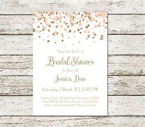 blush pink and gold bridal shower invitation printable