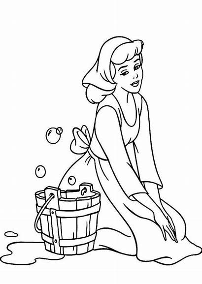 Coloring Disney Cleaning Pages Cinderella Drawing Floor