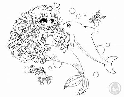 Yampuff Coloring Mermaid Pages Chibi Animal Lineart