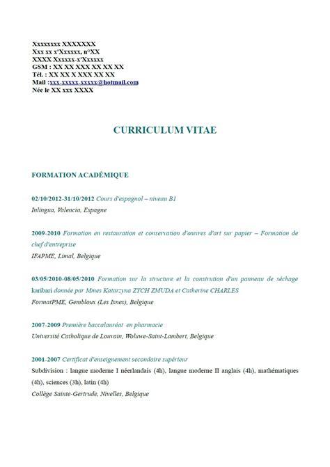exemple de cv restauratrice de papier belgique