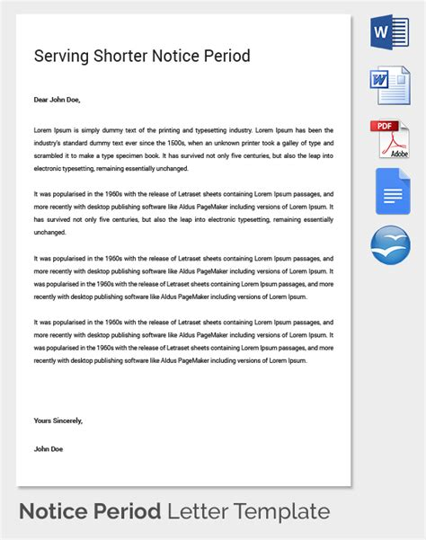 notice period letter templates  sample