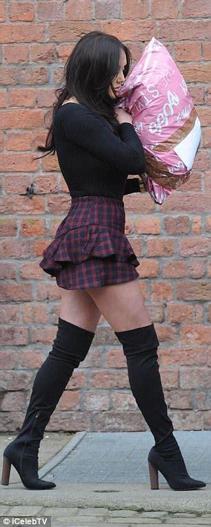 charlotte crosby puts  leggy display  thigh high boots