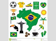 Brazil And Soccer Icon Set Stock Vector Image 41595284