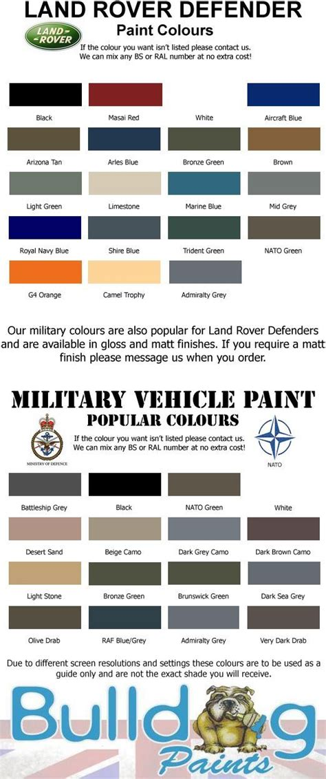 land rover defender paint colours chart search