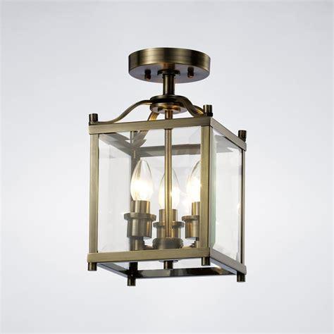 il31110 aston semi ceiling antique brass glass