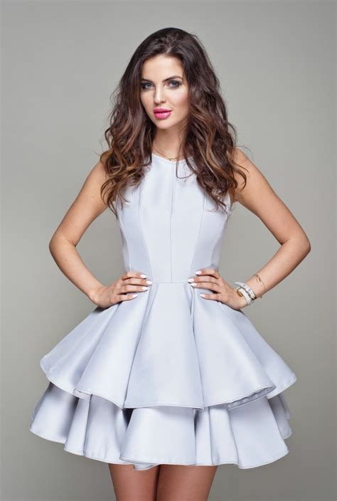 ashe szara rozkloszowana sukienka na kobieta sukienki