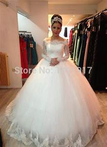 Longue Illusion Manches Nouvelle Robe de Mariage Princesse robe de Bal Robes De Mariée Sheer