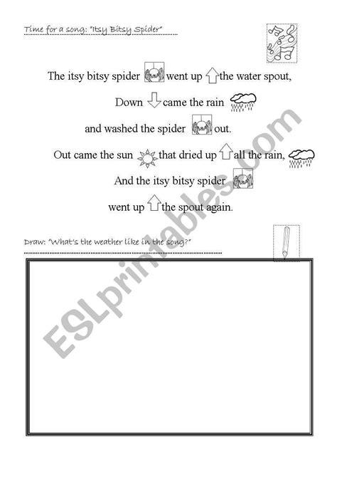 itsy bitsy spider esl worksheet  mishuna