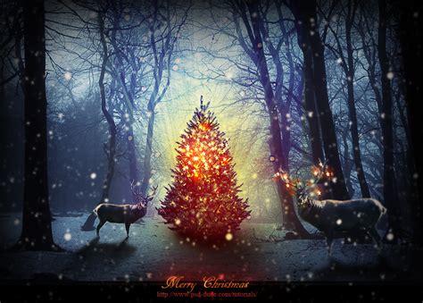 magic christmas tree photoshop manipulation tutorial