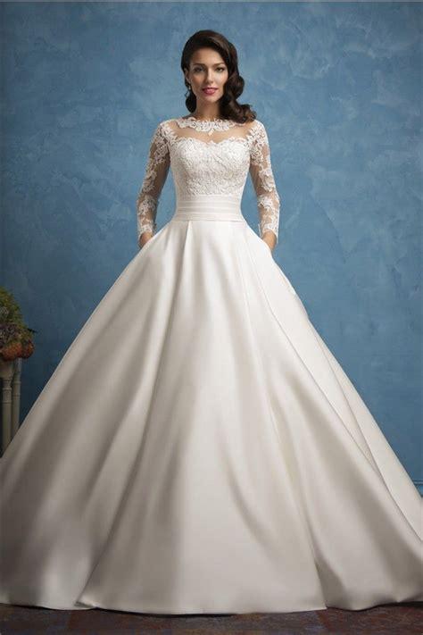 roayl ball gown illusion neckline long sleeve lace satin