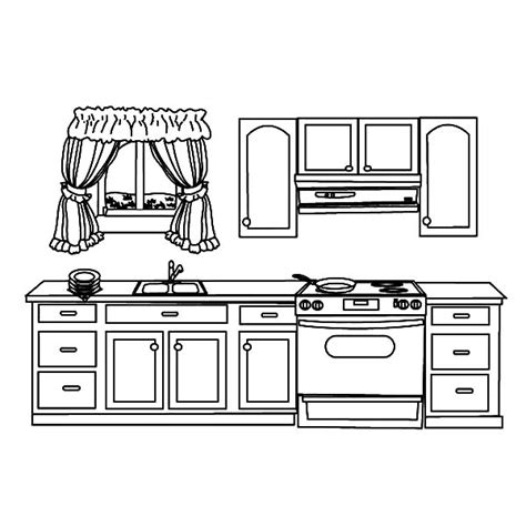 house kitchen coloring pages  house kitchen coloring