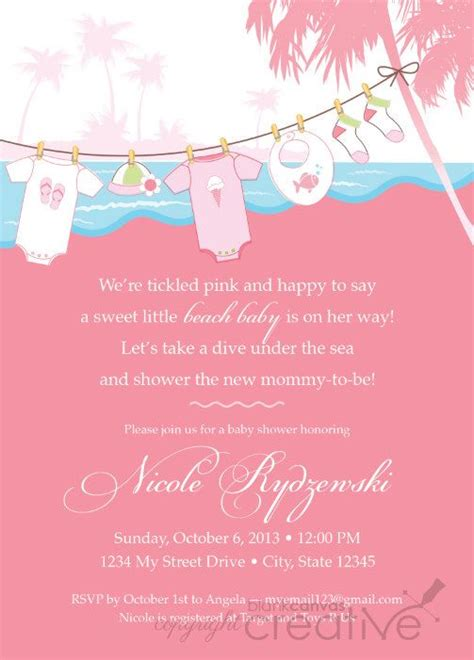 baby shower invitation pink teal beach baby