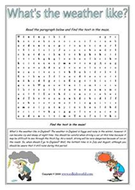 worksheets what s the weather like what s the weather like word maze worksheet for 3rd 6th grade lesson planet