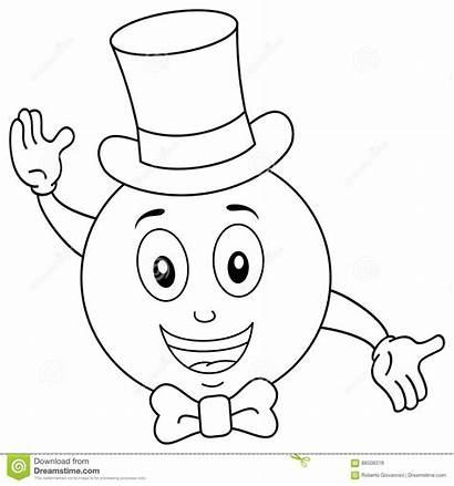 Coloring Smiley Hat Tie Bow Cartoon Happy