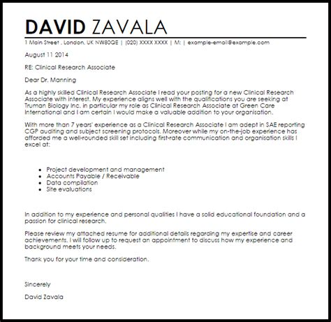 Sle Research Assistant Cover Letter by Clinical Research Associate Cover Letter Sle Livecareer