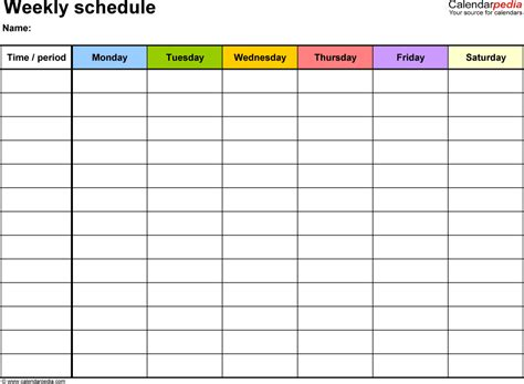 weekly schedule templates templates