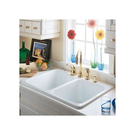 americast silhouette kitchen sink accessories faucet 7145 001 345 in bisque by american standard