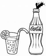 Cola Coca Coke Coloring Drawing Bottle Soda Glass Lemonade Pages Drink Soft Printable Drawings Para Logos Pop Etsy Popular Most sketch template