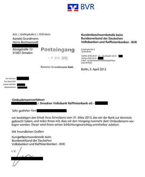 beschwerde gegen banken ombudsmann  teil
