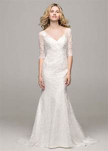 david39s bridal 3 4 sleeve all over lace trumpet wedding With 3 4 sleeve lace wedding dress