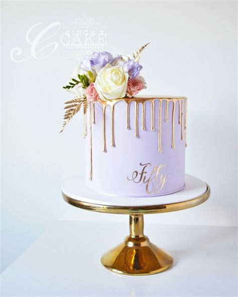 lilac  gold drippy cake cake ideas birthday cake