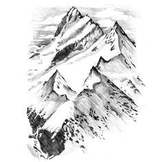 Mountains Vector Set Hand Drawn Rocky Peaks
